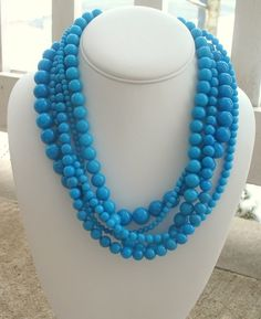 Chunky Turquoise Blue Necklace Multistranded Statement, Come Away With Me. $49.00, via Etsy.  I love it!!