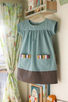 "From Oliver + S's ""Ice cream Dress""... ideal as a dress or tunic for littles, and scaled up as a smock for bigs, too!"