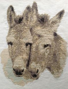 donkey cross stitch | Donkey pair in brown cross stitch kit or pattern | Yiotas XStitch