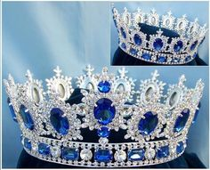 Men's Unisex Rhinestone Silver Full Blue Sapphire Royal Premium Crown Elegant and regal fully round crown fit for a king or queen. This is the best crown to wear to a homecoming event, parade or carni Royal Crowns, Royal Tiaras, Crown Royal, Tiaras And Crowns, Princess Crowns, Male Crown, Pageant Crowns, Diamond Crown, Kings Crown