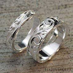 Set of Hawaiian Hand Engraved Silver Ring & width x thickness, flat type) Hawaiian Wedding Rings, Titanium Wedding Rings, Wedding Band Sets, Tiffany Jewelry, Beautiful Rings, Ring Designs, Jewelry Rings, Craft Jewelry, Jewellery