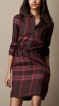 Burberry | Robe tunique en lin en check | EM PARIS