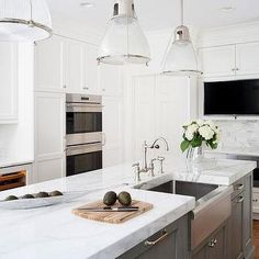Stainless Steel Apron Sink On Gray Island