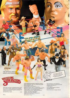 WWF Wrestling Superstars complete with macho man randy savage AND Elizabeth. My brother & cousins had these.they were hard plastic but very cool! 1980s Toys, Retro Toys, Vintage Toys, Wrestling Superstars, Wrestling Wwe, Wrestling Costumes, Wwe Action Figures, Old School Toys, My Childhood Memories