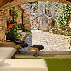 Papier Peint Provincial Alley In Tuscany - Taille : cm 3d Wallpaper Mural, Home Wallpaper, Poster Mural, Floor Murals, 3d Wall Murals, Tuscany, Beautiful Homes, Wall Decor, Patio