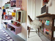 petit bureau mural  en palettes et caisses en bois peintes de couleur pastel en guise d'étagères sur un mur idée exemple style shabby chic industriel bohème DIY déco
