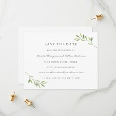 Green Watercolor Leaf Wedding Save The Date , Personalized Invitations, Zazzle Invitations, Invites, Green Watercolor, Watercolor Leaves, Wedding Save The Dates, Save The Date Cards, Unique Office Supplies, Botanical Wedding