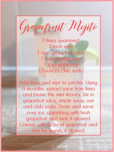 grapefruit cocktail 5 of the Best Grapefruit Cocktails - Dlicieux Cocktails de Pamplemousse - Spring Cocktails - Grapefruit Cocktail Recipes - Lime-Grapefruit-Basil Gin Punch - Gra Grapefruit Cocktail, Grapefruit Juice, Fun Drinks, Yummy Drinks, Rosemary Simple Syrup, Spring Cocktails, Juice Cup, Mojito Recipe, White Cups