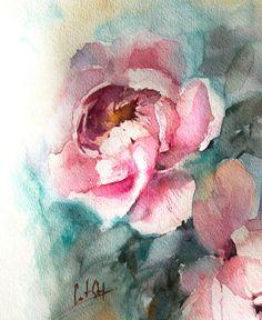 Pintura acuarela ORIIGNAL Peonías arte de la pintura pintura