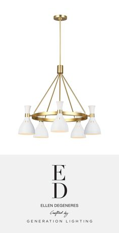 ED Ellen DeGeneres   Pairing a rich, two-tone finish with bold, geometric lines give the Joan Chandelier luxe appeal. Warm Burnished Brass joins with either Midnight Black or Matte White in a thoughtful juxtaposition of contrasting finishes. Each iconic, hourglass-inspired shade features small perforations towards its crown, allowing a soft glow to shine through, further articulating the distinctive details of this chic collection.   Available at clarksonlighting.com. Ed Ellen Degeneres, 5 Light Chandelier, Geometric Lines, Hourglass, Glow, Brass, Ceiling Lights, Warm, Inspired