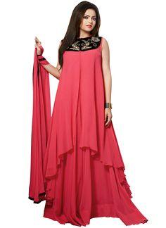 Drashti Dhami Georgette Layered Suit