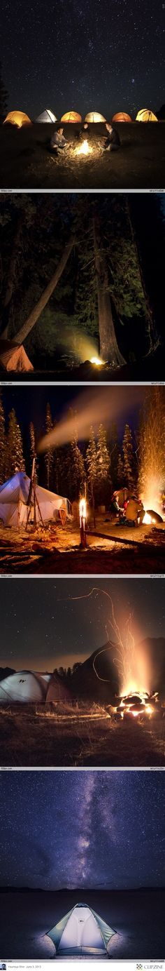 camping with friends series of photos with tents and campfires illuminated in the night art