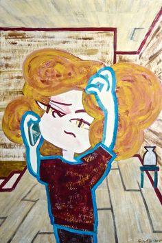 Morning Disturbance #illustration #イラスト #contemporaryart #popart #painting #catgirl #mobilephone #room