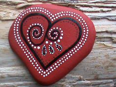 Painted Rock/Paperweight/Red Heart/Painted Stone/Painted Beach Stone. $13,99, via Etsy.