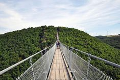 Must do in Germany: visiting the Geierlay Bridge in Rheinland-Pfalz, the longest and most exciting swingbridge in Germany! Away We Go, Geocaching, Brooklyn Bridge, Places To See, The Good Place, Things To Do, To Go, Germany, Camping