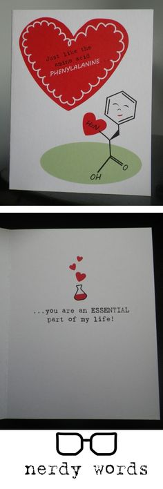 Nerdy Valentine's Day cards for science geeks! Check out nerdywords.ca for more biology, physics, computer science, chemistry and statistics greeting cards.