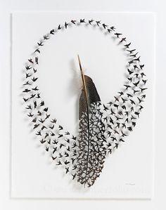 Over 30 pieces of bird art show how our feathered friends inspire creativity - Art Painting Feather Crafts, Feather Art, Flock Of Birds, Pet Birds, Tiny Bird, Colossal Art, Bird Sculpture, Art Mural, Shadow Box