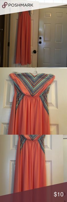 Coral maxi dress Coral maxi dress, strapless, crocheted detail on top, no tags but never worn Dresses Maxi