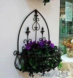European garden flower baskets hanging wrought iron balcony flower pot rack hanging outdoor magazine rack shelving rack blue basket