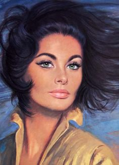 Louis Shabner painting of Sophia Loren Retro Kunst, Retro Art, Vintage Art, Portraits, Portrait Art, Frida Art, Retro Girls, Ad Art, Arte Pop
