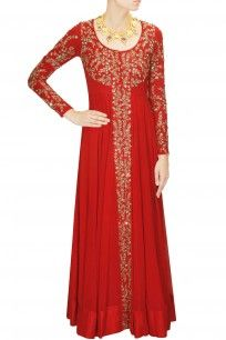Red embellished long jacket with red inner gown