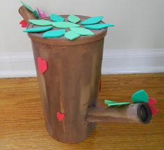 Pattern Shmattern: Owl Tree Valentines Box from an Oatmeal Can