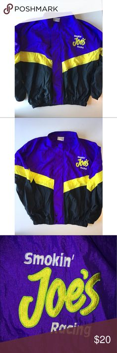 """Vintage Camel Smokin' Joe's racing jacket Size Lg Vintage Mens Camel Smoking joes racing Jacket. Nice and light jacket, in really good condition for its age. Pit to Pit: 27"""" Full length: 29"""" Size Large camel Jackets & Coats Windbreakers"""