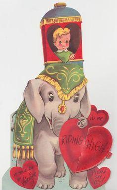 Vintage Elephant Valentine Card