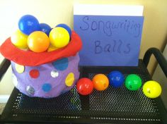 would be good for a warm up --- kids choose 5 balls for the melody and we add a rhythm, put on staff, and play.  Or keep a separate bin with rhythms and match up.