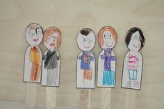 "Family puppets - craft sticks and cardstock. Great for the ""My Family"" section."
