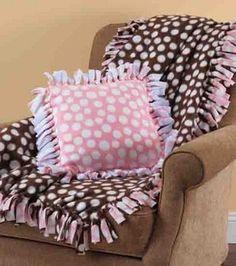 Fleece blankets and pillows.