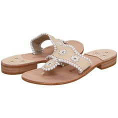 Jack Rogers Palm Beach Navajo Flat Women's Sandals ($118) ❤ liked on Polyvore featuring shoes, sandals, slip on sandals, beach shoes, leather shoes, flat shoes and jack rogers sandals