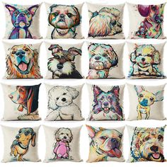 Cheap cushion base, Buy Quality terrier size directly from China cushion definition Suppliers: Pug Pop Dog Cushion Cover Decorative Throw Pillows Colorul French BullDog Watercolor Pattern Cotton Linen Cushion Bull Terrier Animal Cushions, Sofa Throw Pillows, Sewing Pillows, Linen Pillows, Throw Pillow Cases, Cushions On Sofa, Dog Pillows, Cover Pillow, Linen Fabric