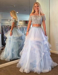 sparkly two piece prom dress, sky blue long prom dress, 2018 prom dress with off shoulder #longpromdresses