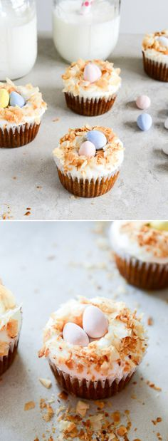 Banana Carrot Cupcakes with Coconut Cream Cheese Frosting
