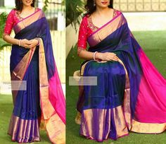 Uppada Pure Silk Saree Handloom Indian Wedding uppada pattu with jewelly Uppada Pattu Sarees, Silk Saree Kanchipuram, Organza Saree, Ikkat Saree, Blue Silk Saree, Soft Silk Sarees, Pink Saree, Navy Blue Saree, Pattu Saree Blouse Designs