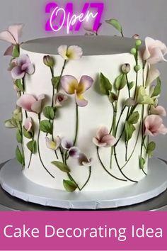 Cake Decorating Frosting, Cake Decorating Videos, Cake Decorating Techniques, Bolo Floral, Floral Cake, Cake Icing, Cupcake Cakes, Tulip Cake, Drop Cake