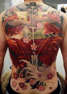 Large colored samurai tattoo on back