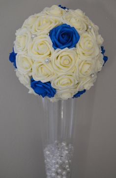Ivory With Royal Blue Accents  Flower Ball with by KimeeKouture