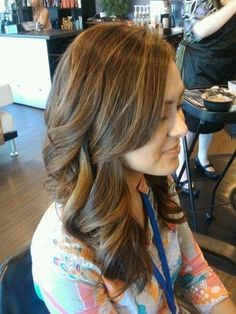 Milk Chocolate brown with caramel highlights...Hair by Danielle E | Yelp. Thats what I want my hair to be dyed like :)