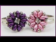 DIY | Ring mit Blume aus Perlen fädeln | Beaded ring | Twin beads flower | jewellery - YouTube