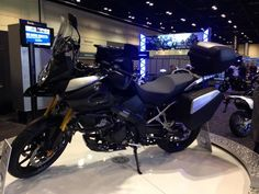 2014 Suzuki V-Strom 1000 ABS Adventure includes hand guards, skid plate, engine guards & saddlebags with mounts. This one shown with accessory tankbag & fog lights.