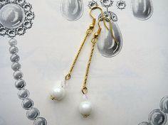 Pearl Drop Earrings Art Deco Gatsby Wedding Bridal Earrings