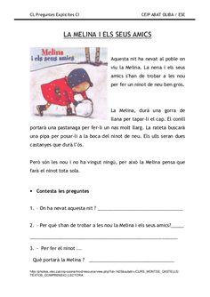 Preguntes explicites Catalan Language, Conte, Valencia, Literacy, Teacher, Activities, Education, School, Books