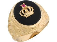 Yellow Gold Onyx Simulated Ruby Royal Crown Mens Ring - Jewelry Liquidation