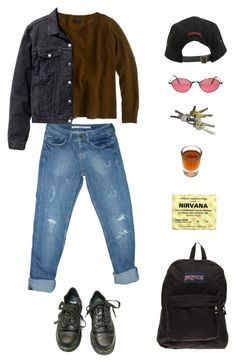 """How to take a fall"" by origami-kitten ❤ liked on Polyvore featuring J.Crew, Topshop, H&M, Dr. Martens, JanSport and Stussy"