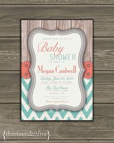 Chevron Baby Shower Invitation Coral Teal Gray by Thirteen20Five, $12.50