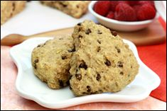 Guilt-Free Chocolate Chip Scone Recipe | Hungry Girl  Serving Size: 1 scone Calories: 176 Fat: 7g Sodium: 295mg Carbs: 25.5g Fiber: 3g Sugars: 6g Protein: 3.5g  PointsPlus® value 5*
