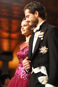 royalwatcher:  Nobel Prize Ceremony, Stockholm, Sweden, December 10, 2014-Sofia Helqvist and Prince Carl Philip
