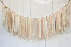 Burlap and Lace Rag Tie Banner - Peach, Ivory and Champagne